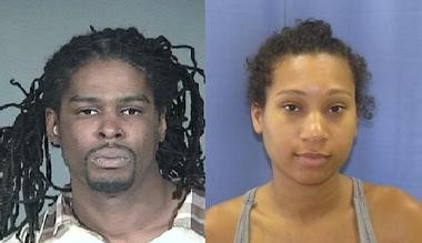 """Percival Williams, 35, of Edison, left, also known as Tayvann Dunston and who went by the street names """"Knowledge"""" and """"Don Cholo,"""" was arrested Tuesday in Texas on human trafficking charges. His girlfriend, Chanell """"Asha"""" Vaughn, 23, was arrested Thursday for allegedly stealing an estimated $500,000 worth of uncut diamonds from a Manhattan hotel room."""