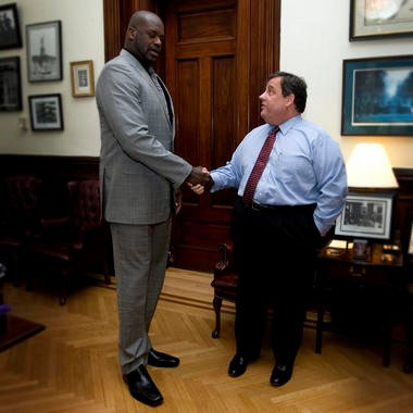 Basketball star Shaquille O'Neal met with Gov. Chris Christie met at his office in the Statehouse in Trenton. Shaq has endorsed Christie's reelection