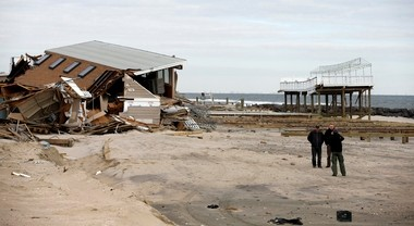 Hurricane Sandy damage such as this in Mantoloking is pummeling property values in many Shore towns.