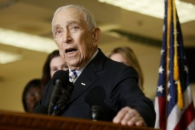 U.S. Sen Frank. Lautenberg, shown announcing his retirement in February, died this morning at 89.
