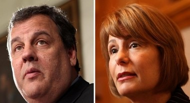 Gov. Chris Christie and Democratic gubernatorial candidate Barbara Buono are shown in this file photo.