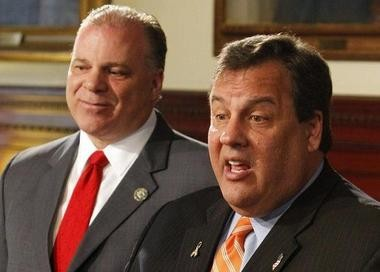 Gov. Chris Christie and Senate President Stephen Sweeney (D-Gloucester) are shown in this file photo. Both men hope to eliminate the Rutgers Board of Trustees.