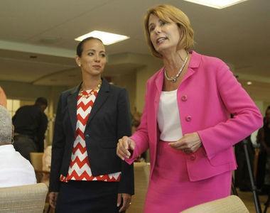 Barbara Buono and her running mate Milly Silva visit a Willingboro senior center.