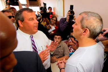 Gov. Chris Christie (left) was confronted by Brian Wilson of Scotch Plains inside the Highlander Restaurant during a campaign stop in Scotch Plains last Wednesday. Wilson urged him to sign a bill that would make it easier for children, like his own daughter, Vivian, 2, to participate in the medical marijuana program.