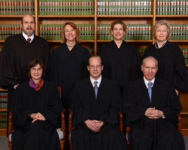 The full New Jersey Supreme Court. From top left: Judge Ariel A. Rodriguez t/a; Justice Helen E. Hoens; Justice Anne M. Patterson; Judge Mary Catherine Cuff t/a; From front left: Justice Jaynee LaVecchia; Chief Justice Stuart Rabner; Justice Barry T. Albin;