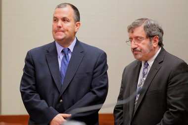 Essex County Assemblyman Albert Coutinho (left), with his attorney Donald DiGioia, in September as Coutinho pleaded guilty guilty to theft and falsifying records in Superior Court in Mercer County.