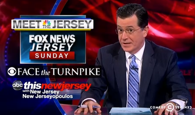 A still of Stephen Colbert's segment on Gov. Chris Christie on Monday night.