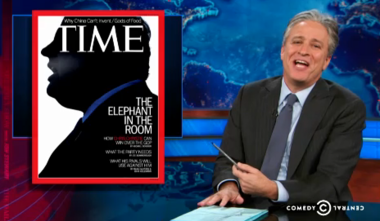 """Jon Stewart jokes about Time magazine's Chris Christie cover on """"The Daily Show"""" on Monday night."""