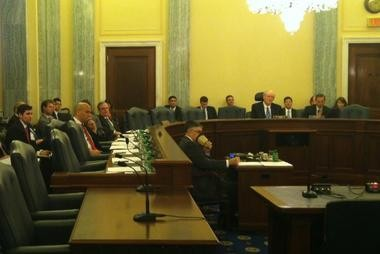 Sen. Booker listens during testimony at a Commerce committee hearing. It was his first hearing as a committee member.