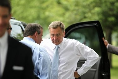 Port Authority chairman David Samson talks with Gov. Chris Christie last year. The 74-year-old Samson is linked to both major scandals plaguing the governor's office, the questions about the George Washington Bridge lane closures and the allegations of trading Sandy aid for fast-tracking a politically linked development.