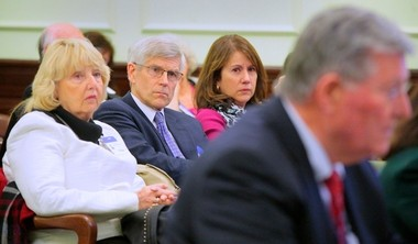 A bill granting adopted people access to their original birth certificates passed the Assembly and Senate today. In this file photo from last month, Tyson Perry of Cherry Hill, center, sits with his two sisters-in-law Carol Dowlen of Jackson County, Pa., left, and Jo Pierson of Red Bank, right, as they listen to testimony in support of the bill during a meeting of the Senate Health, Human Services and Senior Citizens Committee.