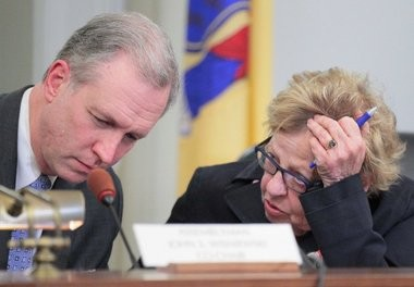 Assemblyman John Wisniewski (D-MIddlesex) and State Sen. Loretta Weinberg (D-Bergen), during the a Jan. 27 hearing of the joint legislative committee looking into Port Authority finances and operations, which they co-chair.