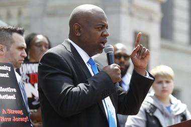 Newark mayoral candidate and South Ward Councilman Ras Baraka, speaks at a rally outside Newark City Hall