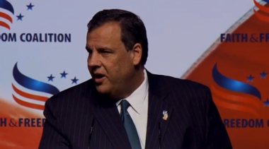 "Gov. Chris Christie speaks at the ""Road to Majority"" conference in Washington today."