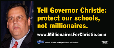 "The NJEA is convinced Gov. Chris Christie was referring to this billboard ad it ran in 2011 when he claimed a union ran an ad that said he ""hates children."""