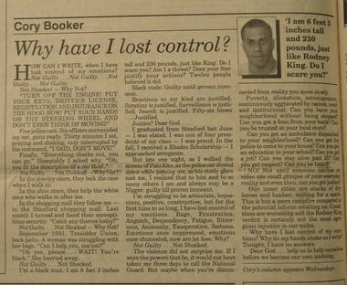 A view of the column Cory Booker wrote in 1992.