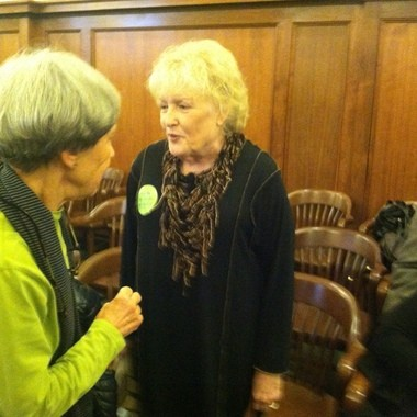 "Janet Colbert of Lakewood, (R), seen in this photo following her testimony before the Senate health committee Monday in Trenton, in support of the ""Aid in Dyling"" legislation."