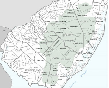A map of the Pinelands management area.