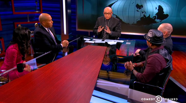 U.S. Sen. Cory Booker (second from left) guests on Larry Wilmore's new talk show Monday night.
