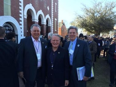 Left to right: Reps. Albio Sires (D-8th Dist.), Leonard Lance (R-7th Dist.) and Frank Pallone Jr. (D-6th Dist.) in Selma to participate in the 50th anniversary commemoration of the historic march for voting rights.