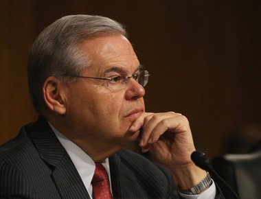 Sen. Robert Menendez listens to testimony at today's Senate Foreign Relations Committee hearing on President Obama's request for a congressional resolution authorizing the use of U.S. military force against the Islamic State.