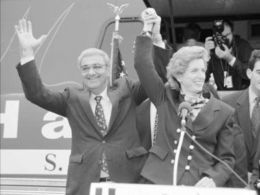 "Then-state Assembly Speaker Garabed ""Chuck"" Haytaian (left) is pictured on the campaign trail in 1994 with Gov. Christie Whitman."