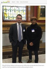 Brian Aitken (left) and Steffon Josey-Davis (right) inside the Trenton statehouse in an undated photo posted on Josey-Davis' GoFundMe online crowdsourcing webpage. Aitken had his illegal weapons possession sentence commuted by Gov. Christie in December 2010. Josey-Davis is seeking a pardon for his own illegal weapons conviction, and now plans to ask the NRA for assistance in his appeal of his plea. Both men legally acquired their firearms, but were prosecuted and convicted of felonies for transporting them illegally in New Jersey. (Credit: GoFundMe.com)