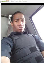 Steffon Josey-Davis, dressed in a bullet-proof vest while at work as a driver at Loomis Armored in an undated photo the defendant posted on the online crowd funding website GoFundMe.com. (Credit: GoFundMe.com)