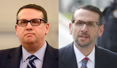 David Wildstein, at Jan. 2014 hearing at left, and at Newark federal court on Friday, May 1.