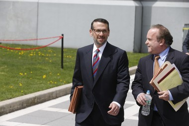 David Wildstein, former Port Authority official, left, and his attorney, Alan Zegas, right, leave federal court in Newark Friday after Wildstein pleaded guilty to his role in the politically motivated closure of local access lanes to the George Washington Bridge. (Patti Sapone | NJ Advance Media for NJ.com)