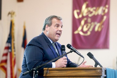 Gov. Chris Christie attends a memorial prayer service for the victims of the Charleston, S.C., mass shooting at Saint Mathew AME Church in Orange in June. (Aristide Economopoulos | NJ Advance Media for NJ.com)
