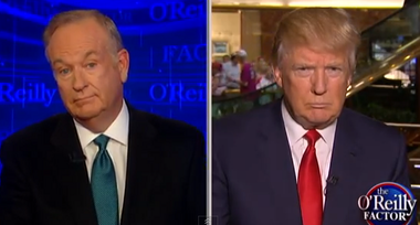 Bill O'Reilly (left) interviews Donald Trump (right) on Tuesday night.
