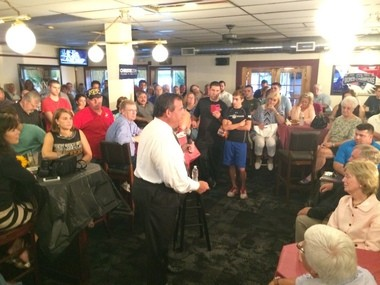 Gov. Chris Christie speaks during a town hall meeting Monday at Sayde's Neighborhood Bar & Grill in Salem, N.H.