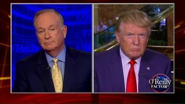 """Fox News' Bill O'Reilly (left) interviews Republican presidential frontrunner Donald Trump (right) on """"The O'Reilly Factor"""" on Tuesday night."""