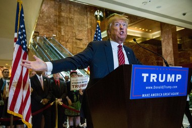 Republican presidential candidate Donald Trump lays out his tax plan at Trump Tower in New York City on Monday.