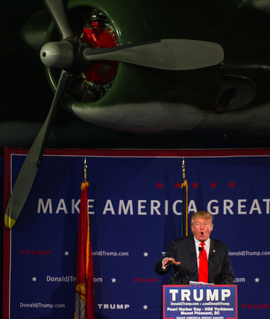 Republican presidential candidate Donald Trump speaks at a rally at the U.S.S. Yorktown on Monday night in Mt. Pleasant, S.C.
