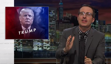 "John Oliver criticizes Donald Trump on ""Last Week Tonight"" in February."