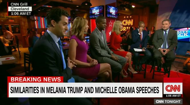 CNN anchors and pundits discuss the eerie similarity between portions of Melania Trump and Michelle Obama's convention speeches shortly after 1 a.m. on Tuesday, July 19, 2016.