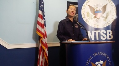 National Transportation Safety Board Vice Chair Bella Dinh-Zahr speaks to reporters in Washington before departing for the crash site in Hoboken.
