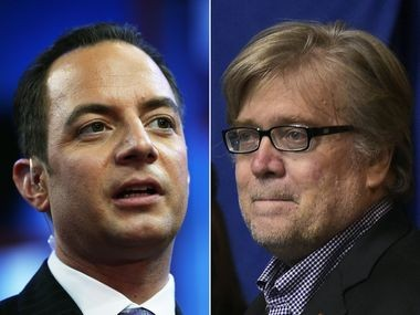 Reince Priebus (left) and Stephen Bannon (right)