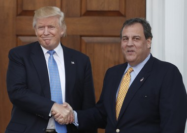 President-elect Donald Trump and New Jersey Gov. Chris Christie shake hands after meeting at Trump's golf course in Bedminster last month.