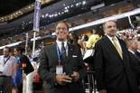 """""""Saturday Night Live"""" alumnus and possible 2017 Republican governor candidate Joe Piscopo stands on the convention floor by the New Jersey delegation at the 2016 Democratic National Convention in Philadelphia. Piscopo is a self-described lifelong Democrat who is now an independent. Wednesday July 27, 2016. Philadelphia, PA, USA (Aristide Economopoulos 