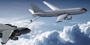 A KC-46 (above) refuels a C-17 below. File photo.