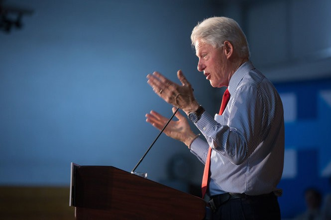 Former President Bill Clinton campaigns for his wife, Hillary Clinton, at Edison High School in May 2016. (John O'Boyle for NJ Advance Media)