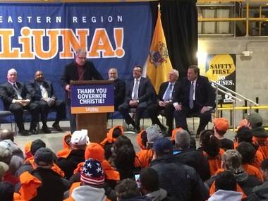 Gov. Chris Christie (seated, far right) urged construction union members to punish lawmakers who opposed the gas tax powering transportation construction projects by throwing them out of office. Cliffwood, N.J. January 26, 2017