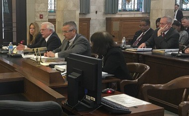 State Department of Corrections Commissioner Gary Lanigan and other corrections officials appear before the state Senate budget committee on April 25, 2017.