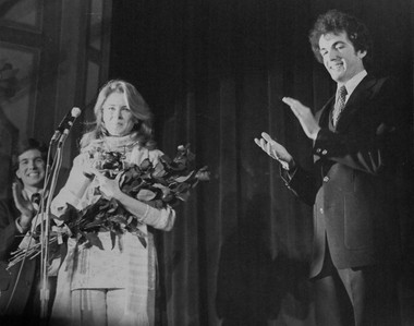 A young Phil Murphy (right) awarding actress Candace Bergen the Hasty Pudding Woman of the Year award in January 1979.