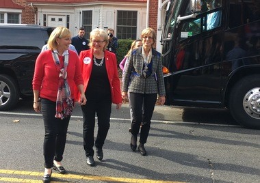 Lt. Gov. Kim Guadagno (far left) campaigns with former Gov. Christie Whitman (far right) on Saturday at the Burlington County Republican Party headquarters in Mount Holly.
