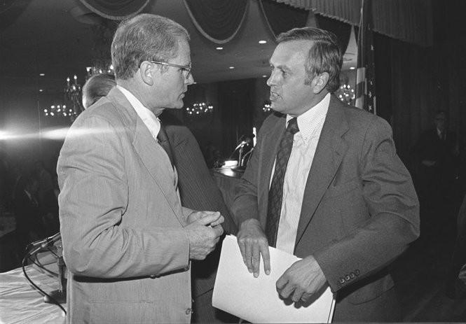 Gov. Brendan Byrne and state Sen. Raymond Bateman (R-Somerset) greet each other upon arrival for a gubernatorial debate held at the Imperial Manor, in Paramus, in September 1977. (Star-Ledger file photo)
