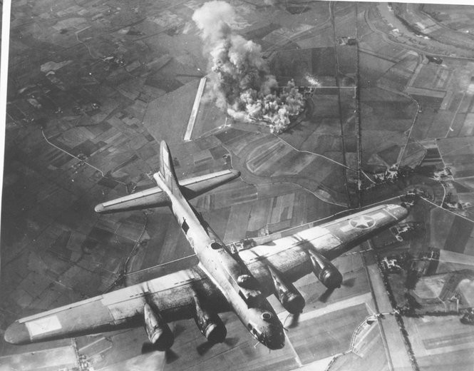 A B-17 Flying Fortress over Germany during WWII. (U.S. Department of Defense)